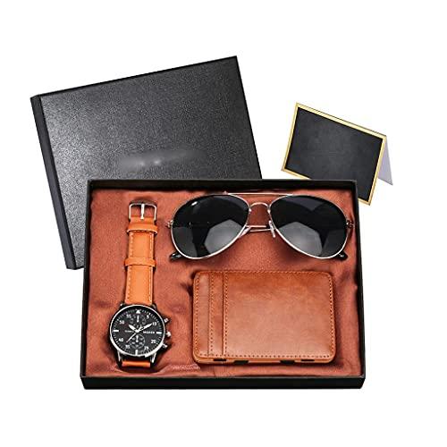MGPLBYA Conjunto de Regalo Bellamente Hombres Relojes con Paquete de Tarjetas Gafas de Sol de Moda Cumpleaños Regalo de acción de Gracias Reloj de Pulsera de Hombre (Color: a) (Color : B)