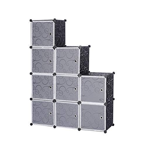 WOLTU Armario Modular Estantería por Módulos DIY, Armario de 9 Cubos con Puertas, para Almanceje de Ropa, Juguetes, Zapatos 111x37x111cm Negro SR0055sz