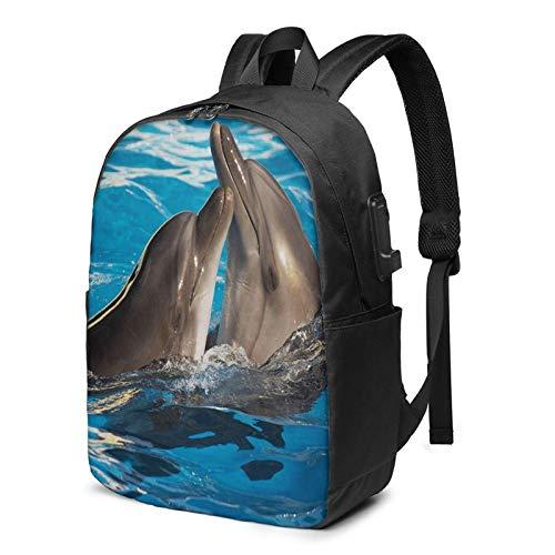WEQDUJG Mochila Portatil 17 Pulgadas Mochila Hombre Mujer con Puerto USB, Mostrar Pareja de Delfines en la Piscina de Baile Mochila para El Laptop para Ordenador del Trabajo Viaje