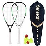 Senston Speedminton Set per 2 con 3 Palline, Racchette Speed Badminton, Confezione Che Include 2 Racchette Speedminton 3 Palline e 1 Custodia per Il Trasporto