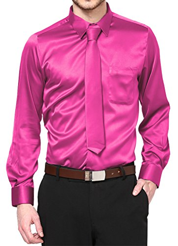 Daniel Ellissa Hot Pink Satin Dress Shirt with Neck Tie and Hanky Kids to Youth Sizes (Kid's 06)