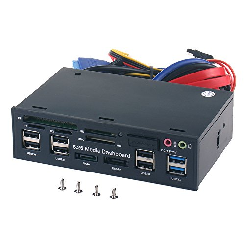 WANLONGXIN WLX-525E 5.25 Inch PC Dashboard Media Front Panel Audio, with SATA e-SATA Dual USB 3.0 6 Port USB 2.0 Five-in-one Card Reader (SD/MMC/CF/MS/TF / M2)