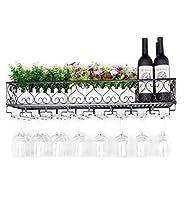 relaxbx porta bicchiere da vino sul muro uva fortificata bicchieri da vino portabottiglie rovesciato cucina portabottiglie in ferro battuto portabottiglie (dimensioni: 120 cm)