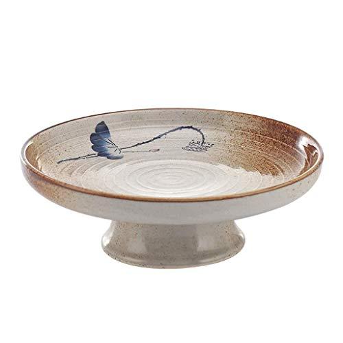 Tangrong Bowl, Surin creatieve persoonlijkheid Hoge Plaat, Retro Hoge kwaliteit keramische fruitschaal, Thuis Simple Gedroogd fruit plaat snack Plate, 8.5in, 10in (Color : 10in)