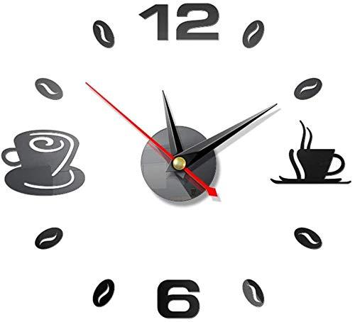 FANDE Reloj de Pared 3D, 2 Piezas DIY Reloj de Etiqueta de Pared Decoración 3D Silencioso DIY de Material Acrílico para Ministerio del Interior Decoraciones (Negra)