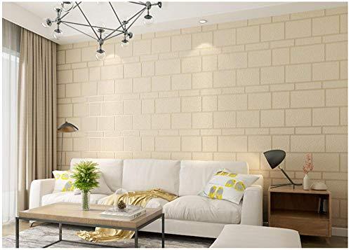Creme Farben Tapete Beflockungsquadrat Vliestapete 3D Wandpapier Schlafzimmer Wohnzimmer Fernseh Hintergrund Dekoration Wandtuch 9.5Mx0.53M
