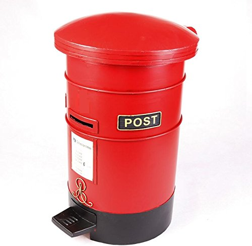 LD&P Retro industria de correo de viento tubo de hierro cubo de basura modelo Decoración barra de café nostálgico personalidad ornamentos casa artesanía accesorios de fotografía,red,38*47CM