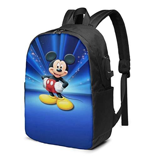 Caelpley Zaino per Il Tempo Libero per Ragazze e Ragazzi, Grande Zaino per Laptop, Zaino da Viaggio Impermeabile per Uomini e Donne, Disney Mickey Mouse Blue Glitter Radiale
