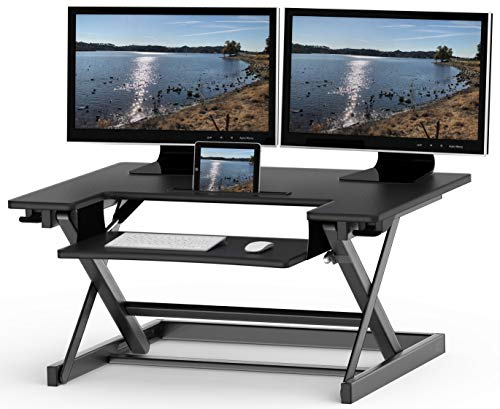 SHW Height Adjustable Sit to Standing Desk Converter...