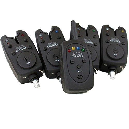 Kkarp Avisador de Pesca Drake TX Bite Alarma Set Alarm Set 4 + 1 Carpfishing