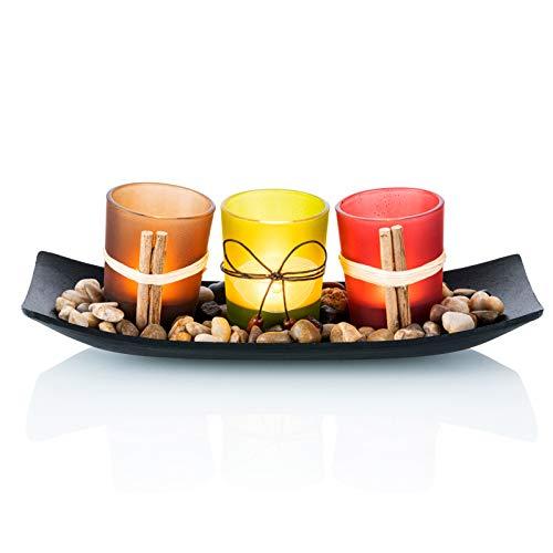 Juego de 3 Candelabros Decorativos de Candelita con Rocas y Bandeja, Decoración de Mesa de Café, Eventos de Bodas y Fiestas, Centros de Mesa para Comedor Decoración de Mesa Decoración para el Hogar