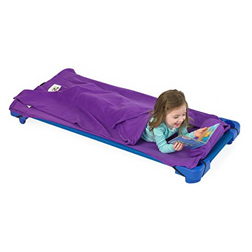 ROLLEE POLLEE Nap Sac Roll Up Napping Blanket with Attached Pillow for Preschool/Daycare, Super Soft with Elastic Straps, Fits Most Mats and Cots (Purple)