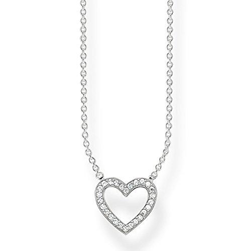 THOMAS SABO Damen Kette mit Herz Anhänger Zirkonia 925 Sterling Silber KE1554-051-14-L45v