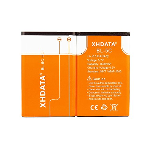XHDATA BL-5C Batteria Ricaricabile 3.7V 1500mAh Per Radio 2 Pezzi Arancione