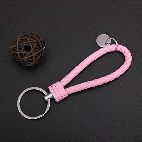 Metermall New for Key Chain Leather Key Ring Multicolor Woven Key Ring Pink Singal