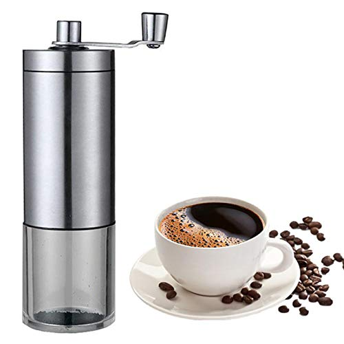 Manual Coffee Grinder with Adjustable Setting, Hand Portable Bean Mill - Conical Ceramic Burrs, Best for Camping, Travel, Backpacking,Silver