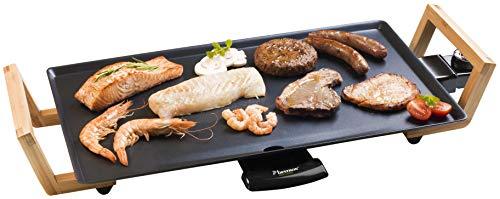 Bestron ABP602BB Teppanyaki Grillplatte im Asia Design, Elektrischer Tischgrill mit Bambus-Griffen, 2.000 Watt, Schwarz, Metal