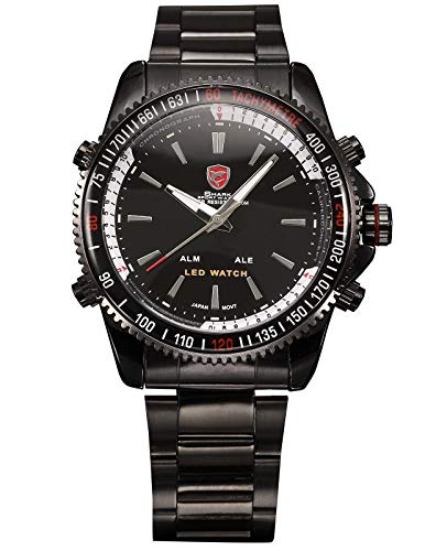 Shark Herren LED Digital Dual Time Display Armbanduhr Schwarz Edelstahlarmband Analoge Quarzuhr SH001