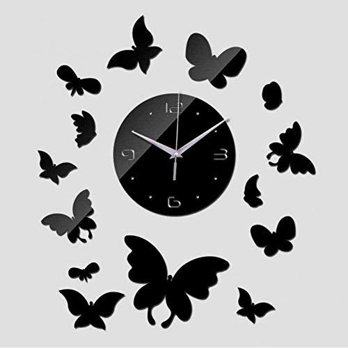 LIUXU Reloj de Pared de acrílico Bricolaje timeLimited Limited Sí Mirror Reloj de Pared Relojes Acrílico Caja de Seguridad Diseño de Reloj de Cuarzo Pegatina Negro-47 Pulgadas