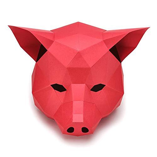 3D Papel Cerdo Caballito Sombrero Hogar Animal DIY Origami Tarjeta de Papel Modelo Hogar Sala Decoración Artesanía Party Cosplay Props (Color : Red)