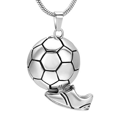 QQJJSUDIW Collares con Colgante De Bisuteríacolgante De Collar De Cenizas De Fútbol De Acero Inoxidable