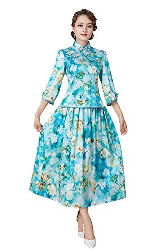 Cheongsam Seide Wasser Tinte Druck Qipao Bluse Rock Zwei Stück Set chinesische Kleid für Frauen3247M