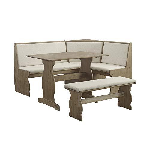 Linon Natasha Wood Patio Conversation Kitchen Breakfast Corner Nook Table Booth Bench Dining Set in...