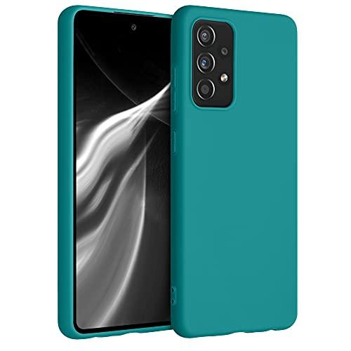 kwmobile Custodia Compatibile con Samsung Galaxy A52   A52 5G   A52s 5G - Cover in Silicone TPU - Back Case per Smartphone - Protezione Gommata Petrolio Matt