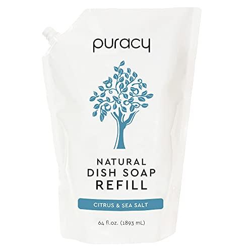 Puracy Platinum Dish Soap Refill, 64 Fl Oz, Citrus & Sea Salt, Sulfate-Free Natural Liquid Dishwashing Detergent, Cuts Grease, Rinses Clean, Softens Skin