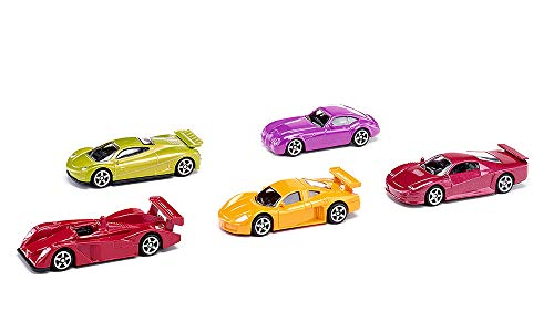 SIKU 6281, Geschenkset 2 - Sportwagen, Metall/Kunststoff, Multicolor, Spielkombination, 5 Sportwagen