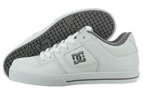 DC Men's Pure Skate Shoe, white/battleship/white, 11 D