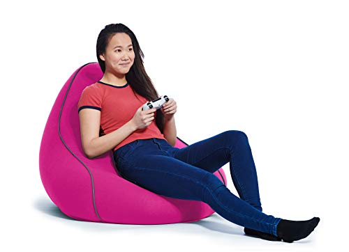 Yogibo Lounger Bean Bag for Adults, Teens, Personal Sized, Single Beanbag Lounge Chair with Raised Back or Gaming, Reading, and Relaxing, Removable, Washable Cover, Pink