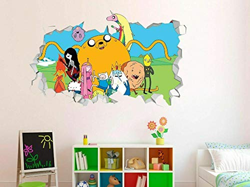 Pegatinas de pared Calcomanías de pared de vinilo personalizadas de Adventure Time Group, papel tapiz para pelar y pegar Póster Arte 3D Mural 50x70cm
