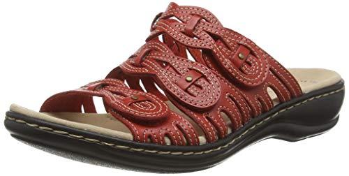 Clarks Leisa Faye, Sandalias Punta Cerrada, Rojo (Red Leather Red Leather), 35.5 EU