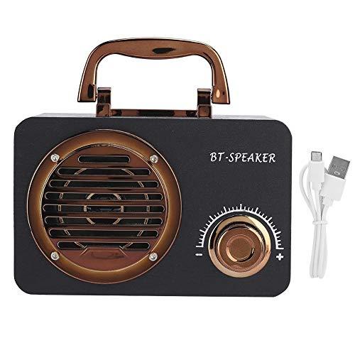 Drahtloser Bluetooth-Lautsprecher, tragbarer Retro-Musikplayer aus Holz, Unterstützung der Speicherkartenwiedergabe, 360 ° -Stereoanlage, hochempfindlicher Lautsprecher, für Mobiltelefon-PC(schwarz)