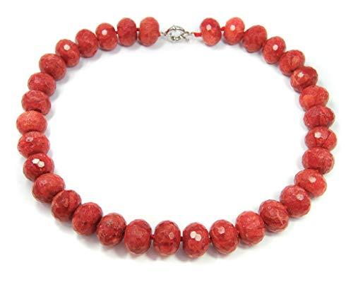 Halsschmuck Kette Collier Halskette aus Korallen in facettierter Radform rote Farbe