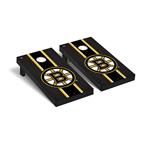 Victory Tailgate NHL Regulation Cornhole Game Set - Onyx Stained Stripe Version - Boston Bruins