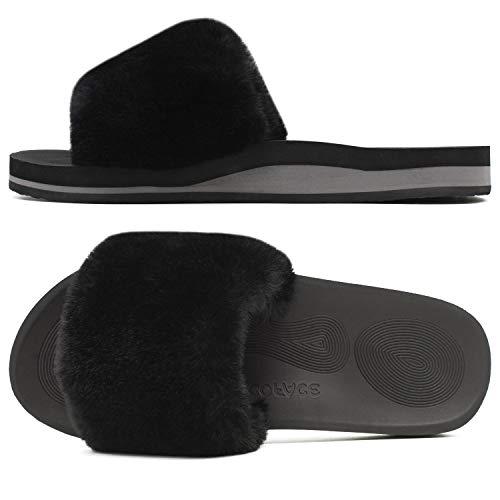 COFACE Damskie pantofle z futrem, klapki, otwarte, na palce, pluszowe, ciepłe dla kobiet, klapki kąpielowe, płaskie, na lato, zimę, damskie klapki, czarny - Czarne pantofle. - 42 EU