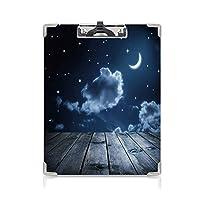 クリップボードメモ型サイズ低プロファイルクリップ ダークブルー 学生用かわいい画集 星雲と三日月の月の板の天体ダークブルーホワイトの鮮やかな夜空