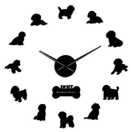 Wrist Watch Wall Clock Bichon Frise Dog Breed Size Adjustable Acrylic Simple DIY Wall Clock Puppy Doggie Silhouette Wall Art Decor Clock Dog Lover GIF