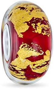 Cristal Murano Rojo Lámina Metálica Oro Abalorio Mujer Para Adolescentes, Colocar Pulsera Europea Plata Esterlina