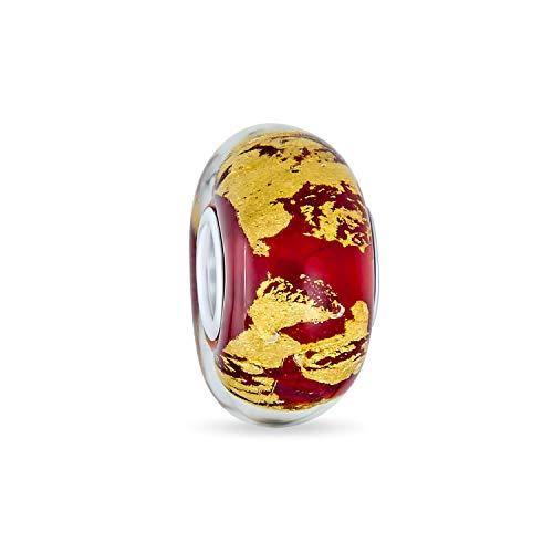 Cristal Murano Rojo Lámina Metálica Oro Abalorio Mujer Para Adolescentes, Colocar Pulsera...