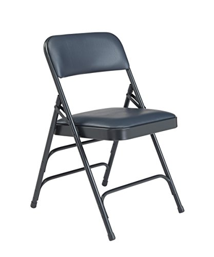 National Public Seating 1300 Series Steel Frame Upholstered Premium Vinyl Seat and Back Folding Chair with Triple Brace, 480 lbs Capacity, Dark Midnight Blue/Char-Blue (Carton of 4)