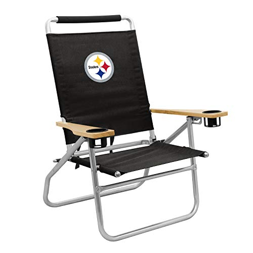 Logo Brands Officially Licensed NFL Pittsburgh Steelers Unisex Beach Chair, One Size, Team Color