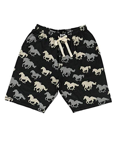 Lazy One Pajama Shorts for Men, Men's Separate Bottoms, Cotton Loungewear, Western, Animal (Stampede Horse, X-Large)