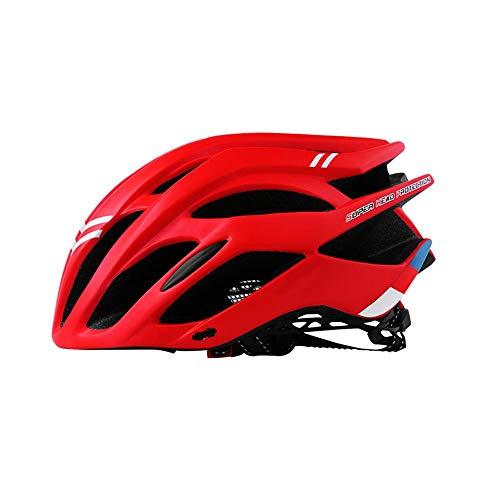 BeiQuan Bicicleta de montaña Casco de MTB de la Bicicleta Cascos de Ciclismo for Mujeres y Hombres Adultos con Visera Desmontable (Color : Red)