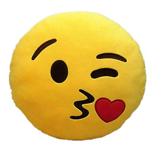 icablelink Emoji Emoticono Cojín Almohada Redonda Emoticon Peluche Bordado Sonriente,Beso Lanzando