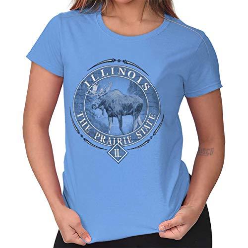 Classic Teaze Illinois Prairie State Mountain Moose Gift Ladies T Shirt Carolina Blue