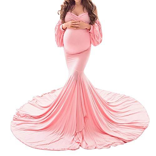 FYMNSI Umstandskleid Schwangere Elegante Fotografie Stützen Mutterschaft Schulterfreies Langarm Langes Abendkleid Damen Hochzeitskleid Bodenlänge Umstandsmode Fotoshooting Kleidung Rosa M