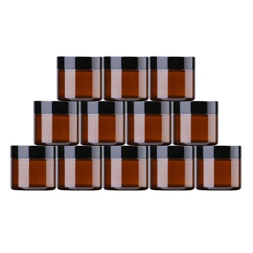 THETIS Frascos de Vidrio Redondos de 60ml (12 Paquete de) - Envases Cosméticos Vacíos con Forros Interiores, Tapas Negras y Frascos de Muestras de Vidrio con Etiquetas(Amber)